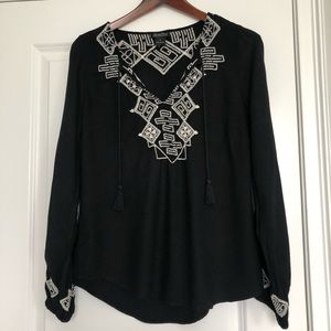 Lucky Brand Black Embroidered Boho Top